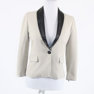 Beige BB DAKOTA black leather collar 3/4 jacket 0